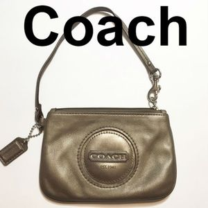 Coach | metallic leather wristlet clutch